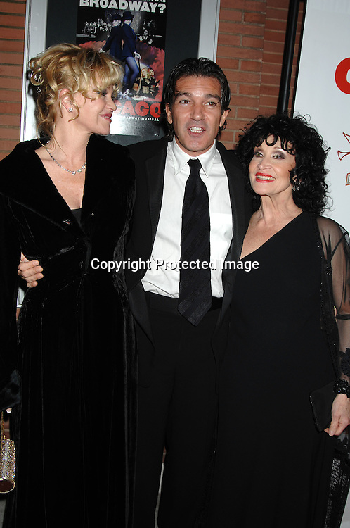 "Melanie Grittith and husband Antonio Banderas with Chita Rivera..arriving at The Party for ""Chicago"" The Musical's 10 year Anniversary on November 14, 2006 at New World Stages. ..It was a benefit for Safe Horizon. ..Robin Platzer, Twin Images"
