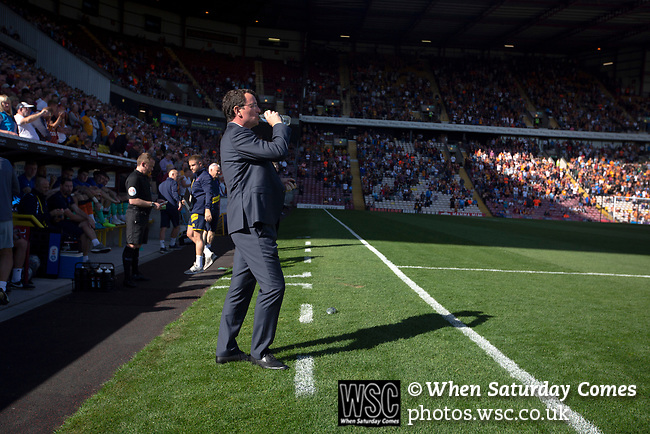 Bradford City 3, Carlisle United 1, 21/09/2019. Valley Parade, EFL League 2. Home manager Gary Bowyer prepares for kick-off before Bradford City played Carlisle United in a Skybet League 2 fixture at Valley Parade. The home team were looking to bounce back after being relegated during a disastrous 2018-19 season on and off the pitch. Bradford won the match 3-1, watched by a crowd of 14, 217. Photo by Colin McPherson.