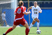 26 September 2010:  FIU's Cortney Bergin (24) advances the ball in the first half as the FIU Golden Panthers defeated the Arkansas State Red Wolves, 1-0 in double overtime, at University Park Stadium in Miami, Florida.