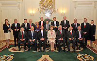 09/03/'11 The new Fine Gael/Labour cabinet pictured this evening at Aras an Uachtarain after recieving their seals of office.. Back row from left, Joan Burton, Minister for Social Protection, Pat Rabbitte, Minister for Communications, Energy and Natural Resources, Dr. James Reilly, Minister for Health, Jimmy Deenihan, Minister for Arts, Heritage and Gaeltacht Affairs, Frances Fitzgerald, Minister for Children, Simon Coveney, Minister for Agriculture, Marine and Food, Alan Shatter, Minister for Justice Equality and Defence, Leo Varadkar, Minister for Transport, Tourism and Sport, Phil Hogan, Minister for the Environment, Community and Local Government, Willie Penrose, Minister of State Designate for Housing and Planning, Paul Kehoe, Government Chief Whip Designate, and Attorney General Ms. Marie Whelan S.C. Front row from left, Brendan Howlin, Minister for Public Expenditure and Reform, Michael Noon an, Minister for Finance, Enda Kenny, Taoiseach, President Mary McAleese, Eamon Gilmore, Tanaiste and Minister for Foreign Affairs, Ruairi Quinn, Minister for Education and Skills, and Richard Bruton, Minister for Enterprise, Jobs and Innovation...Picture Colin Keegan, Collins, Dublin.