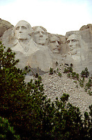 Mount Rushmore representing four American Presidents;  Washington, Jefferson, Roosevelt, and Lincoln.  Black Hills South Dakota USA