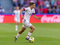 LE HAVRE,  - JUNE 20: Tobin Heath #17 dribbles forward during a game between Sweden and USWNT at Stade Oceane on June 20, 2019 in Le Havre, France.