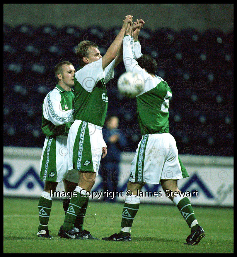 7th November 98      Ref : 980378     .Copyright Pic : James Stewart   .RAITH ROVERS V HIBERNIAN.MIXU PAATELIENEN IS CONGRATULATED BY STEVIE CRAWFORD AFTER HE FIRED HOME HIBS THIRD.......Payments to :-.James Stewart Photo Agency, Stewart House, Stewart Road, Falkirk. FK2 7AS      Vat Reg No. 607 6932 25.Office : 01324 630007        Mobile : 0421 416997.E-mail : JSpics@aol.com.If you require further information then contact Jim Stewart on any of the numbers above.........