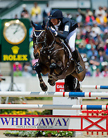 PIRATE, ridden by Meghan O'Donoghue (USA), competes during Stadium Jumping at the Rolex 3-Day Event at the Kentucky Horse Park in Lexington, Kentucky on April 28, 2013.