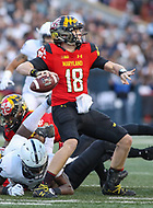 College Park, MD - November 25, 2017: Maryland Terrapins quarterback Max Bortenschlager (18) throws a pass during game between Penn St and Maryland at  Capital One Field at Maryland Stadium in College Park, MD.  (Photo by Elliott Brown/Media Images International)