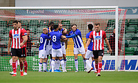 Sheffield Wednesday's Steven Fletcher, fourth in from left, celebrates scoring the opening goal with team-mates<br /> <br /> Photographer Chris Vaughan/CameraSport<br /> <br /> Football Pre-Season Friendly - Lincoln City v Sheffield Wednesday - Saturday July 13th 2019 - Sincil Bank - Lincoln<br /> <br /> World Copyright © 2019 CameraSport. All rights reserved. 43 Linden Ave. Countesthorpe. Leicester. England. LE8 5PG - Tel: +44 (0) 116 277 4147 - admin@camerasport.com - www.camerasport.com