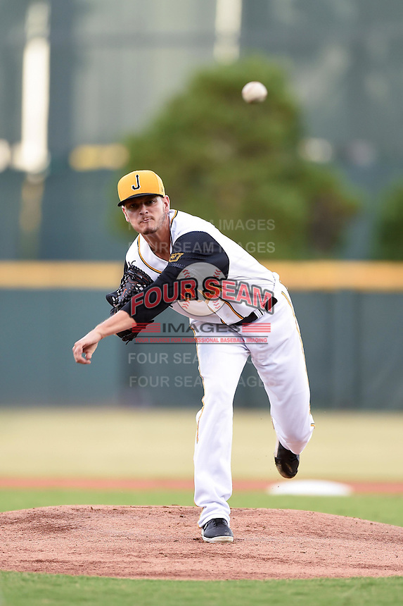 Jacksonville Suns pitcher Justin Nicolino (22) delivers a pitch during game three of the Southern League Championship Series against the Chattanooga Lookouts on September 12, 2014 at Bragan Field in Jacksonville, Florida.  Jacksonville defeated Chattanooga 6-1 to sweep three games to none.  (Mike Janes/Four Seam Images)