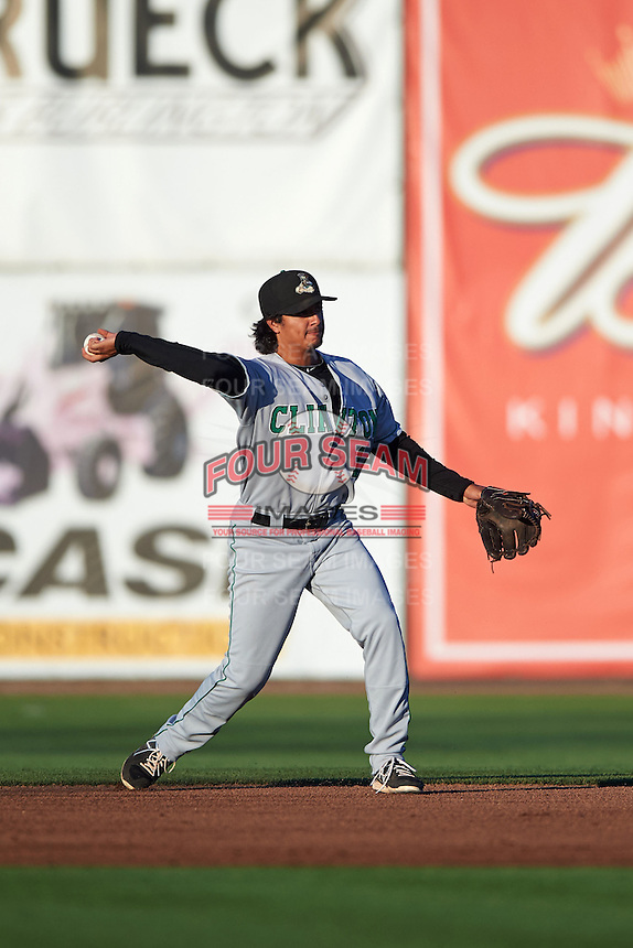 Clinton LumberKings shortstop Chris Mariscal (14) throws to first during a game against the Burlington Bees on August 20, 2015 at Community Field in Burlington, Iowa.  Burlington defeated Clinton 3-2.  (Mike Janes/Four Seam Images)