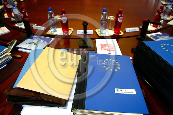 BRUSSELS - BELGIUM -14 JULY 2004--The seat at the meeting table of Mr. Olli REHN, the new Finnish Commissioner for Enterprise and Information Society, just before the weekly Commission meeting.--PHOTO: ERIK LUNTANG / EUP-IMAGES