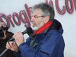 Gerry Adams TD speaking at the march against the closure of the Cottage Hospital. Photo: Colin Bell/pressphotos.ie