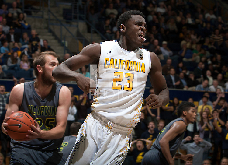 Jabari Bird of California celebrates after scoring two points during the game against UC Irvine at Haas Pavilion in Berkeley, California on December 2nd, 2013.  California defeated UC Irvine, 73-56.