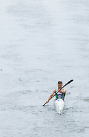 25 MAY 2014 - BRIGG, GBR - Steve Clark (GBR) of Great Britain paddles his kayak along the River Ancholme during the World Quadrathlon Federation 2014 Middle Distance World Championships at the Brigg Bomber in Brigg, Lincolnshire, Great Britain (PHOTO COPYRIGHT © 2014 NIGEL FARROW, ALL RIGHTS RESERVED)
