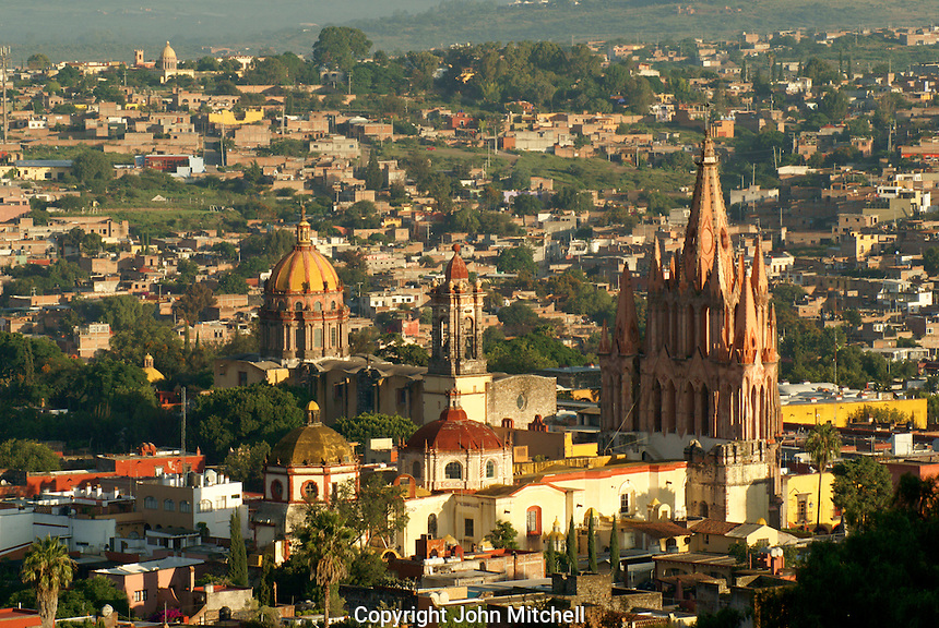 The historical center of San Miguel de Allende from above, Mexico. San Miguel de Allende is a UNESCO World Heritage Site...