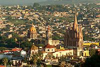 The historical center of San Miguel de Allende from above, Mexico. San Miguel de Allende is a UNESCO World Heritage Site...