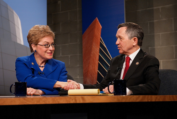 UNITED STATES - FEBRUARY 13:  Rep. Marcy Kaptur, D-Ohio, and Rep. Dennis Kucinich, D-Ohio, shake hands after a candidate debate hosted by Time Warner Cable in Cleveland, Ohio.  Kaptur and Kucinich are running for the OH-09 seat after the state lost two seats due to reapportionment.  (Photo By Tom Williams/CQ Roll Call)