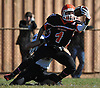 East Rockaway No. 1 Daniel Fusco maintains possession after making a reception for a touchdown in the second quarter of a Nassau County Conference IV varsity football game against West Hempstead at East Rockaway High School on Saturday, October 10, 2015. West Hempstead won by a score of 28-14.<br /> <br /> James Escher