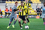Wellington Phoenix's Ben Sigmund, right, and Newcastle United's Jack Colback, left, jostle for position in the fourth match of the Football United Tour at Westpac Stadium, Wellington, New Zealand, Saturday, July 26, 2014. Credit: Dean Pemberton
