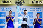 Egan Bernal (COL) Team Ineos retains the young riders White Jersey at the end of Stage 16 of the 2019 Tour de France running 177km from Nimes to Nimes, France. 23rd July 2019.<br /> Picture: ASO/Pauline Ballet | Cyclefile<br /> All photos usage must carry mandatory copyright credit (© Cyclefile | ASO/Pauline Ballet)