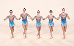 United States team group (USA),<br /> AUGUST 20, 2016 - Rhythmic Gymnastics :<br /> Group All-Around Qualification, Rotation 1 Ribon at Rio Olympic Arena during the Rio 2016 Olympic Games in Rio de Janeiro, Brazil. (Photo by Enrico Calderoni/AFLO SPORT)