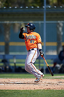 Baltimore Orioles catcher Chris O'Brien (81) follows through on a swing during a minor league Spring Training game against the Boston Red Sox on March 16, 2017 at the Buck O'Neil Baseball Complex in Sarasota, Florida.  (Mike Janes/Four Seam Images)