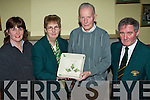 AWARD: Founder member of Kerry Community Games, Christy Murray of St. Brendan's Listellick, receiving his Volunteer Recognition Award from Margaret Culloty, National Director of The Community Games, after 36 years of service in Na Gael GAA Club on Thursday evening. Pictured l-r: Joan Hill (Secretary St. Brendan's Listellick), Margaret Culloty (National Director of The Community Games), Christy Murray (Chairman St Brendan's Listellick) and Jimmy Turner (Chairman of The Kerry Community Games).   Copyright Kerry's Eye 2008