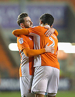 Blackpool's Kelvin Mellor celebrates scoring his sides first goal with teammate Mark Yeates<br /> <br /> Photographer Alex Dodd/CameraSport<br /> <br /> Checkatrade Trophy Round 3 Blackpool v Wycombe Wanderers - Tuesday 10th January 2017 - Bloomfield Road - Blackpool<br />  <br /> World Copyright &copy; 2017 CameraSport. All rights reserved. 43 Linden Ave. Countesthorpe. Leicester. England. LE8 5PG - Tel: +44 (0) 116 277 4147 - admin@camerasport.com - www.camerasport.com