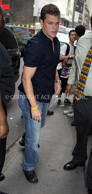Matt Damon on TRL. New York, July 21, 2004. Please byline: PHILIP VAUGHAN - ACEPIXS.COM   .. *** ***  ..Ace Pictures, Inc:  ..contact: Alecsey Boldeskul (646) 267-6913 ..Philip Vaughan (646) 769-0430..e-mail: info@acepixs.com