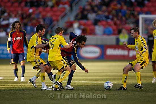 Real Salt Lake vs. Columbus Crew, MLS Soccer playoffs Saturday, October 31 2009 at Rio Tinto Stadium in Sandy. Real Salt Lake forward Fabian Espindola (16)