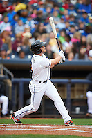 Akron RubberDucks second baseman Todd Hankins (8) at bat during a game against the New Britain Rock Cats on May 21, 2015 at Canal Park in Akron, Ohio.  Akron defeated New Britain 4-2.  (Mike Janes/Four Seam Images)
