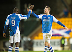 St Johnstone v Aberdeen.....30.01.13      SPL.Rowan Vine celebrates with Gregory Tade.Picture by Graeme Hart..Copyright Perthshire Picture Agency.Tel: 01738 623350  Mobile: 07990 594431