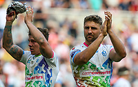 St Helens' Tom Makinson applauds the fans after the match<br /> <br /> Photographer Alex Dodd/CameraSport<br /> <br /> Betfred Super League Round 15 - Magic Weekend - Widnes Vikings v St Helens - Saturday 19th May 2018 - St James' Park - Newcastle<br /> <br /> World Copyright &copy; 2018 CameraSport. All rights reserved. 43 Linden Ave. Countesthorpe. Leicester. England. LE8 5PG - Tel: +44 (0) 116 277 4147 - admin@camerasport.com - www.camerasport.com