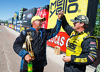 Apr 23, 2017; Baytown, TX, USA; NHRA pro stock driver Bo Butner (left) celebrates with runner up Jeg Coughlin Jr after winning the Springnationals at Royal Purple Raceway. Mandatory Credit: Mark J. Rebilas-USA TODAY Sports