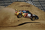 Driver Luachlin O'Sullivan and co-driver Scott Putnam get some air while competing in the Rally Car Race finals during X-Games 12 in Los Angeles, California on August 5, 2006.