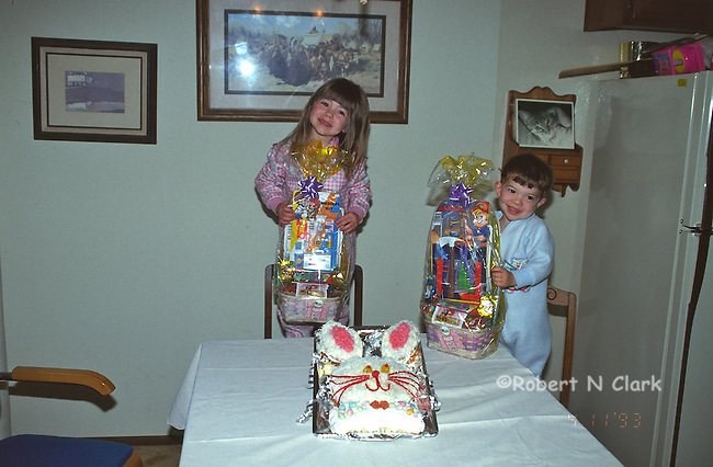 Boy and girl with Easter baskets