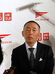 Fast Retailing Chairman and CEO Tadashi Yanai speaks to journalists in Tokyo on Wednesday. Fast Retailing Co Ltd announced that it has signed a consulting contract with German luxury brand designer Jil Sander to supervise the company's low-price brand Uniqlo's apparel products.  17 March, 2009. (Taro Fujimoto/JapanToday/Nippon News)