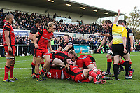 Ed Hoadley of London Scottish scores his team's opening try during the Greene King IPA Championship match between London Scottish Football Club and Hartpury RFC at Richmond Athletic Ground, Richmond, United Kingdom on 28 October 2017. Photo by David Horn.
