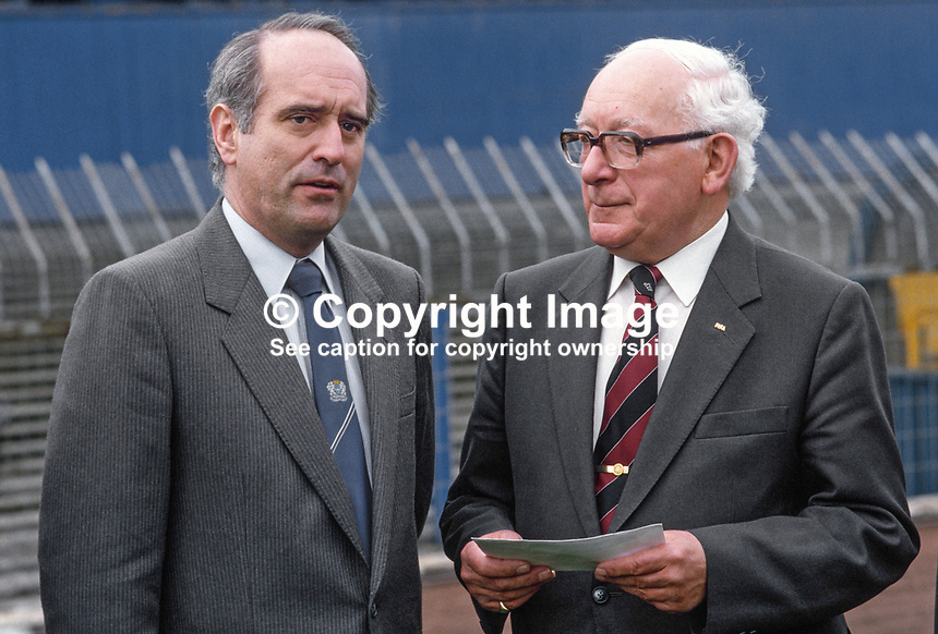 Harry Cavan, president, Irish Football Association, right, and Brian Mawhinney, Junior N Ireland Minister, at a press conference at Windsor Park, the home gound of Linfield FC and the N Ireland International team. 19860403HC+BW.<br />