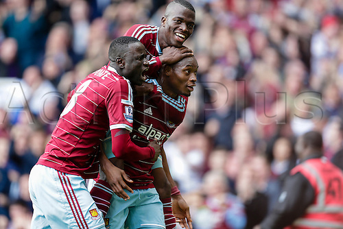 25.10.2014.  London, England. Premier League. West Ham United v Manchester City.  West Ham United's Diafra Sakho celebrates with teammates after scoring his side's second goal