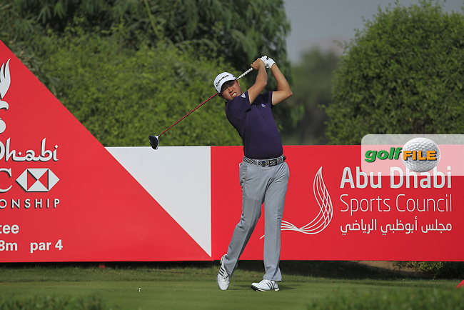 David Lipsky (USA) on the 6th tee during Round 4 of the Abu Dhabi HSBC Championship on Sunday 22nd January 2017.<br /> Picture:  Thos Caffrey / Golffile<br /> <br /> All photo usage must carry mandatory copyright credit     (&copy; Golffile | Thos Caffrey)