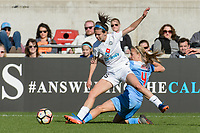 Bridgeview, IL - Saturday April 22, 2017: Erika Tymrak, Alyssa Mautz during a regular season National Women's Soccer League (NWSL) match between the Chicago Red Stars and FC Kansas City at Toyota Park.