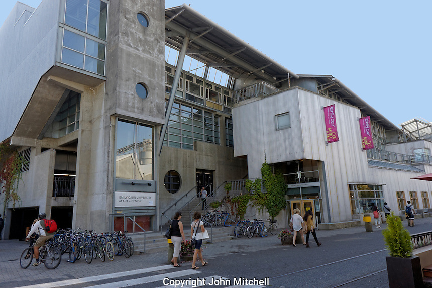 Students in front of the Emily Carr University of Art and Design on Granville Island, Vancouver, British Columbia, Canada