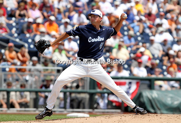 North Carolina's Kent Emanuel. The freshman's 3-0 win over Texas was the first complete-game shutout at the College World Series in five years. (Photo by Michelle Bishop).
