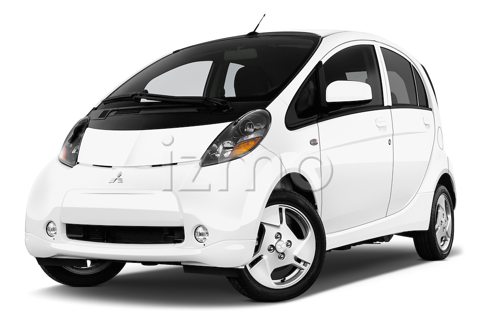 Stock pictures of low aggressive front three quarter view of 2016 Mitsubishi iMiEV 5 Door Micro Car Low Aggressive