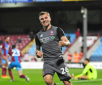 Lincoln City's Harry Anderson celebrates scoring his side's equalising goal to make the score 1-1<br /> <br /> Photographer Andrew Vaughan/CameraSport<br /> <br /> The EFL Checkatrade Trophy Northern Group H - Scunthorpe United v Lincoln City - Tuesday 9th October 2018 - Glanford Park - Scunthorpe<br />  <br /> World Copyright &copy; 2018 CameraSport. All rights reserved. 43 Linden Ave. Countesthorpe. Leicester. England. LE8 5PG - Tel: +44 (0) 116 277 4147 - admin@camerasport.com - www.camerasport.com