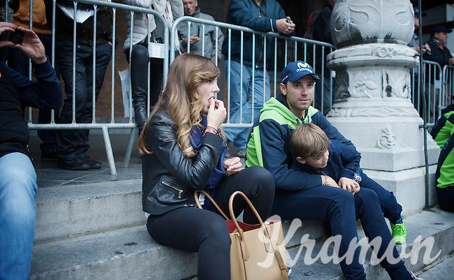 Alejandro Valverde (ESP/Movistar) & son waiting for the team presentation<br /> <br /> Team Presentation; 1 day ahead of the 101th Liège-Bastogne-Liège 2015