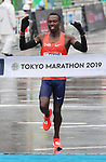 March 3, 2019, Tokyo, Japan - Kenya's Bedan Karoki crosses the finish line of the Tokyo Marathon 2019 in Tokyo on Sunday, March 3, 2019. Karoki finished the second with a time of 2 hours 6 minutes 48 seconds.  (Photo by Yoshio Tsunoda/AFLO)