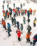 USA, Utah, skiers in line for the Collins Chair Lift, Alta Ski Resort