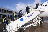 Wednesday 26 February 2014<br /> Pictured L-R: Jose Canas, Pablo Hernandez, Alvaro Vazquez, Jordi Amat and Angel Rangel boarding the aircraft at Cardiff Airport.<br /> Re: Swansea City FC travel to Italy for their UEFA Europa League game against Napoli.