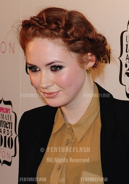 Karen Gillan arriving for the Cosmopolitan Women of the Year Awards held at the Banquetting Hall in Whitehall, London. 02/10/2010 Picture by: Simon Burchell / Featureflash.