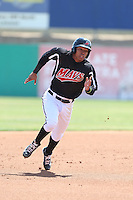 Luis Marte (16) of the High Desert Mavericks runs the bases during a game against the Bakersfield Blaze at Mavericks Stadium on May 18, 2015 in Adelanto, California. High Desert defeated Bakersfield, 7-6. (Larry Goren/Four Seam Images)